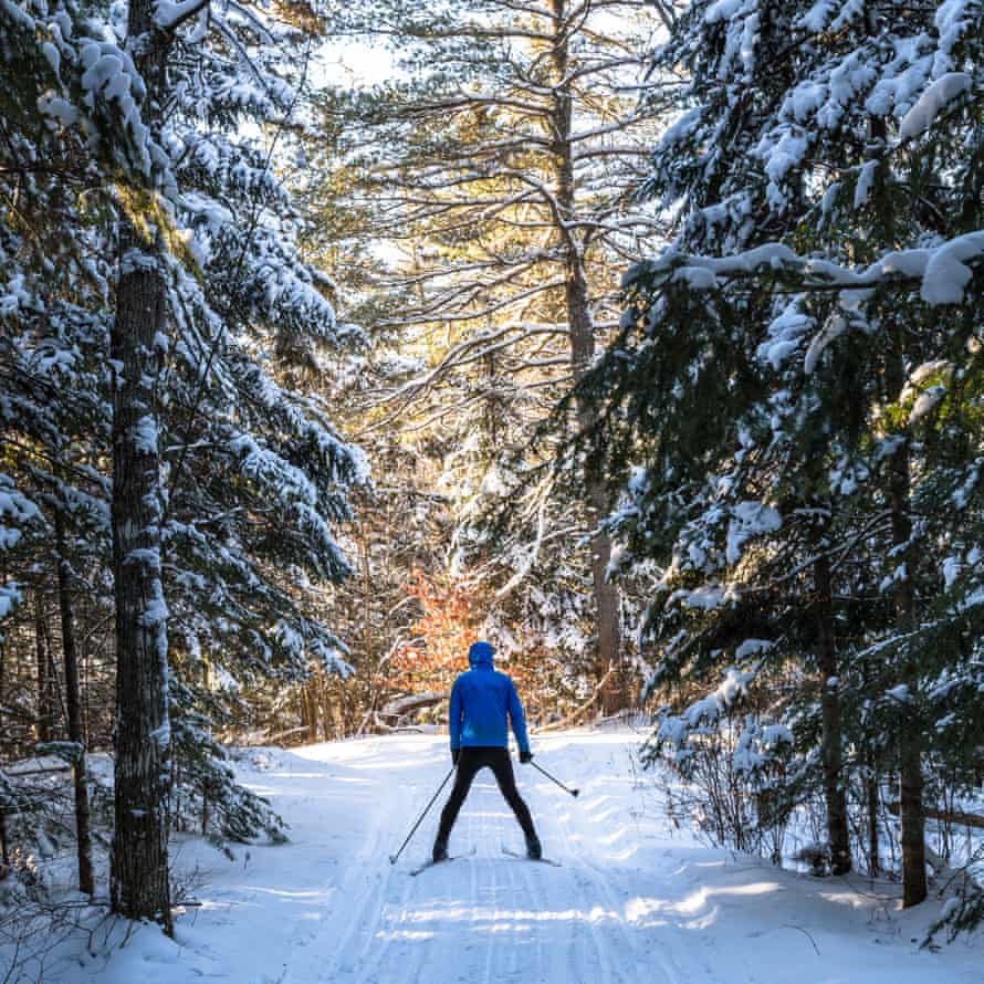 Cross country skiing on one of the trails at Algonquin Eco Lodge, Canada