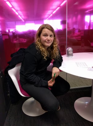 Kate Tempest at her new Guardian desk.