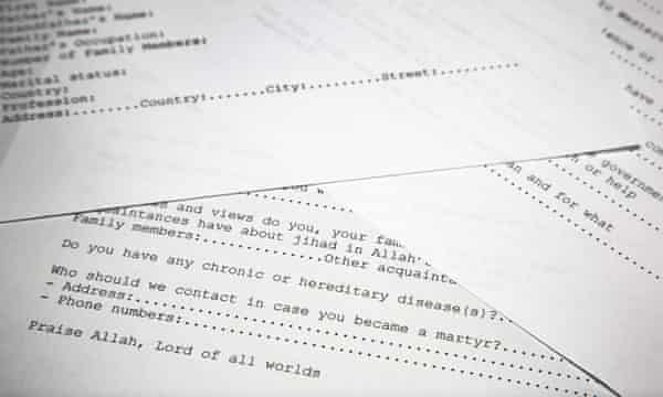 A translated copy of an application to join Bin Laden's terrorist network.