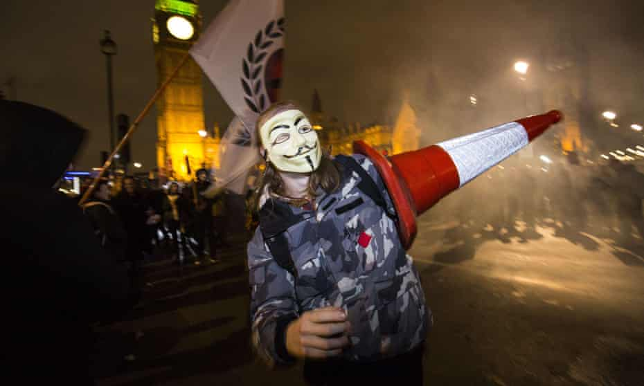 A protester at the Million Masks March in Parliament Square, London, organised by Anonymous in November 2015.