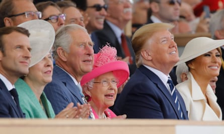 'Britain is choosing to reassert a closed-off version of its own national wartime myth.' Macron, May, Prince Charles, the Queen and the Trumps watch a flyover during D-day commemorations.