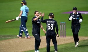 Sophie Devine celebrates after taking the wicket of England's Amy Jones