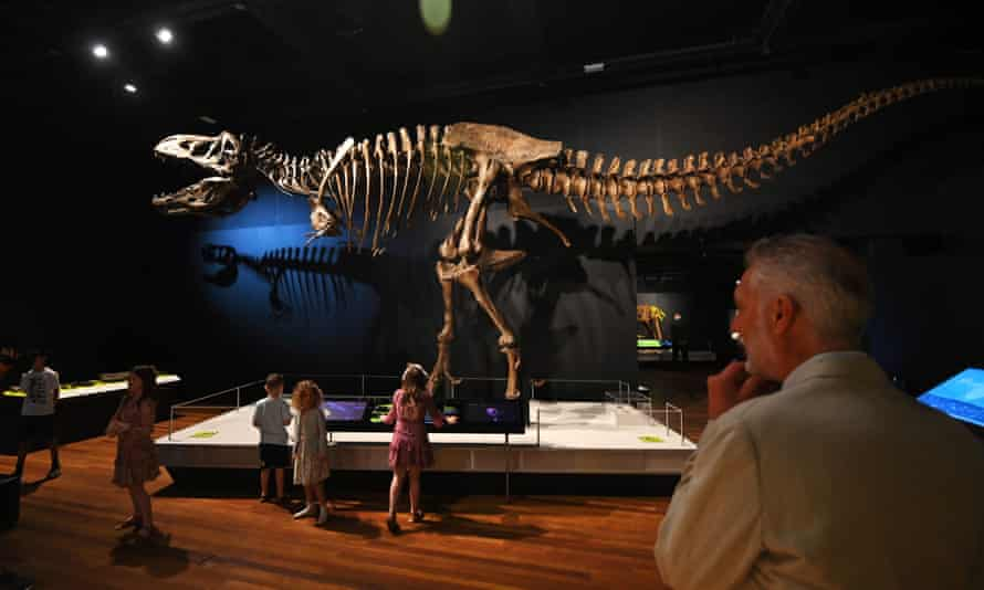 People look at the Tyrannosaurs exhibit during the reopening of the Australian Museum in Sydney