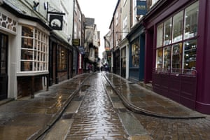 The Shambles, one of the most famous streets in York is almost empty