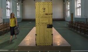 Oscar Wilde's cell door, in the Reading prison Chapel.