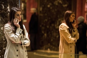 December 11, 2016, Trump campaign communications director Hope Hicks talks on her phone in the lobby at Trump Tower in New York City