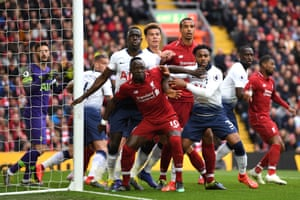 Players including, Saido Mane, Joel Matip of Liverpool and Danny Rose, Moussa Sissoko and Dele Alli of Tottenham Hotspur clash as they await a corner to arrive at Anfield.
