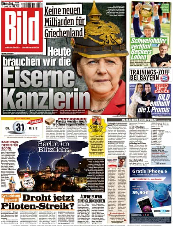 A Bild Zeitung front page from 2015.