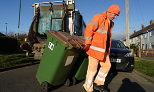 A refuse collector from Redcar and Cleveland council . Refuse collection is just one of the many vital services being provided by UK local government workers.
