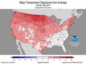 Year-to-date temperature anomalies across the contiguous US