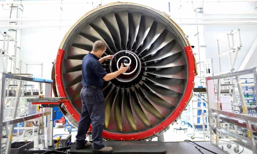 Worker at Rolls-Royce aircraft engine factory