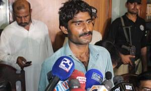 Waseem Azeem on Sunday after his arrest in Multan, Pakistan