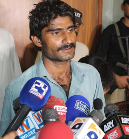 An unrepentant Waseem Azeem talks to the press following the killing of his sister, July 2016. EPA
