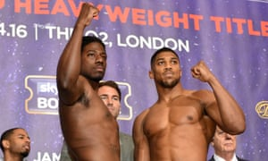 Charles Martin and Anthony Joshua at the weigh-in before their world title fight.