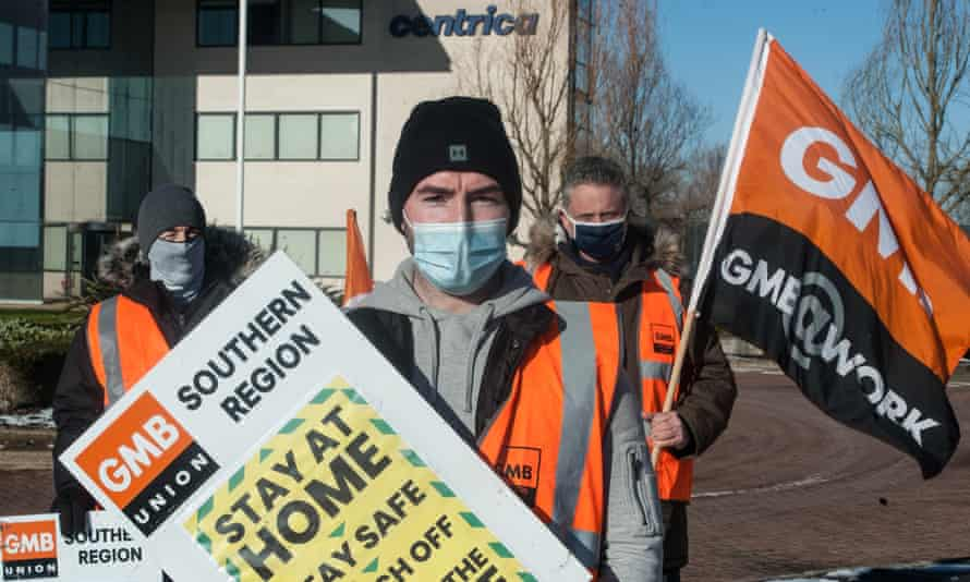 British Gas workers picket Centrica offices in Windsor