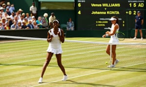 A dejected looking Johanna Konta waits at the net as Venus Williams continues her celebrations.