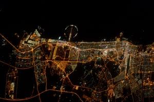 United Arab Emirates Dubai at night – always easy to recognise!
