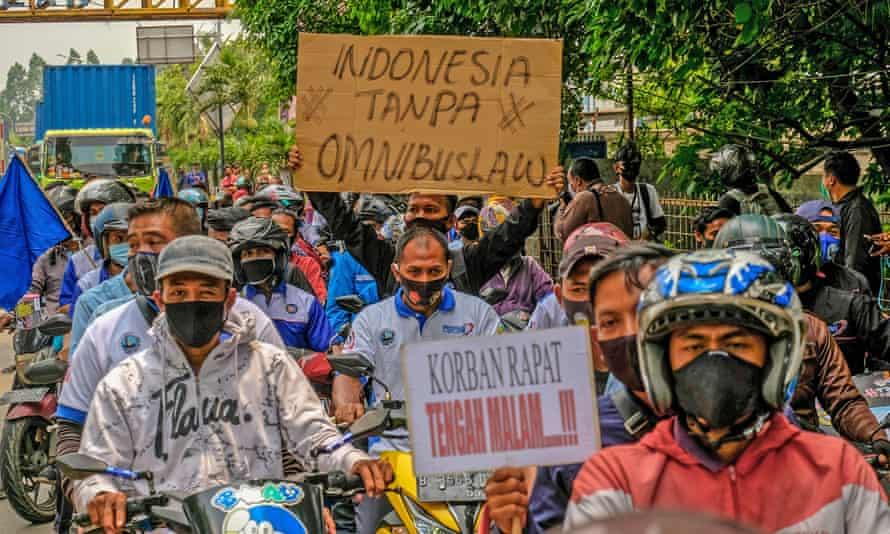 A group of workers demonstrate in Tangerang, Banten, Indonesia.