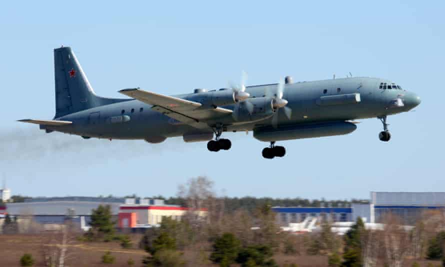 An Ilyushin Il-20M 90924 reconnaissance airplane takes off from Moscow.