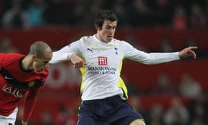 Gareth Bale in action for Tottenham against Manchester United in 2009. He joined Real Madrid in 2013.