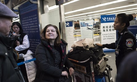 Ursula Gauthier at Beijing airport after her expulsion from China