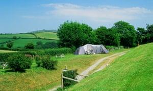 Gwaun Vale Caravan Park, amid views of the Gwaun valley, Llanychaer, Fishguard, Pembrokeshire.