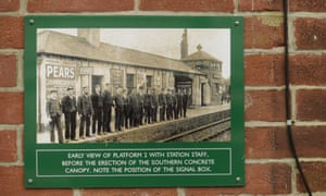 An early photograph hangs at Okehampton station