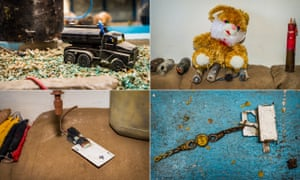 IEDs left behind in Sinjar region by Isis on display at the Summel Exhibition Centre in Duhok in Iraqi Kurdistan. The IED triggers are disguised as childrens' toys, a playing card and a wristwatch