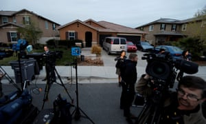 Media outside the Turpin home in Perris, California.