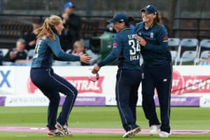 Georgia Elwiss of England celebrates catching out Mignon du Preez of South Africa.