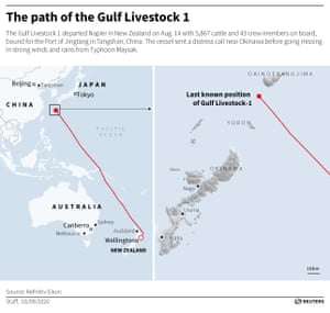 The path of the Gulf Livestock 1 before it disappeared due to Typhoon Maysak near the island of Okinawa