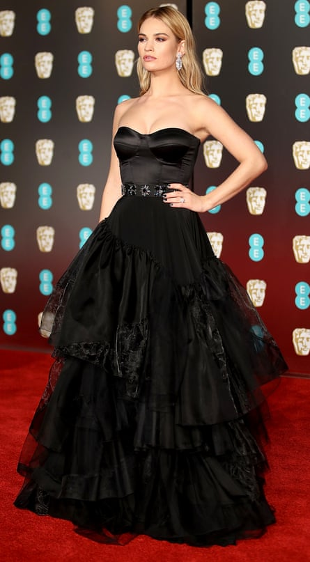Lily James wears Burberry at the Baftas in February 2018