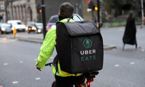 An UberEats bicycle courier in London. The company has faced scrutiny in the past over its commitment to customer safety.