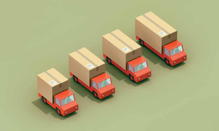 Illustration of delivery trucks for long read