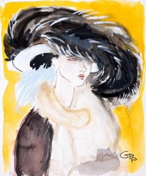 Painting of woman with extravagant headwear