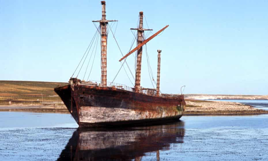 SS Great Britain in Sparrow Cove, Falkland Islands, in 1970.