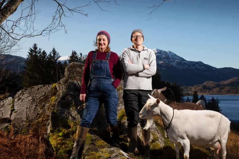 Nicola Hornsby and Crispin Hoult with their goats at Achray farm