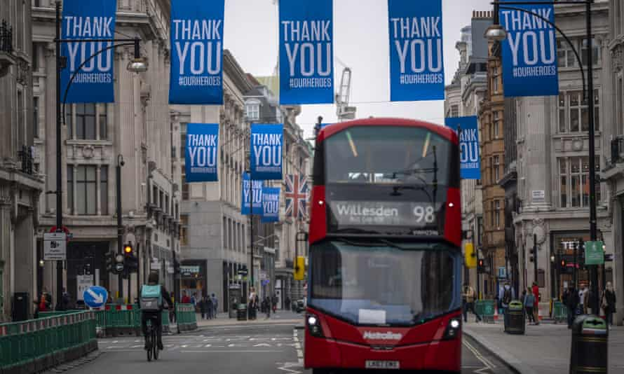 Oxford Street with banners thanking the NHS