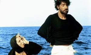 Mariangela Melato and Giancarlo Giannini in Lina Wertmüller's Swept Away.