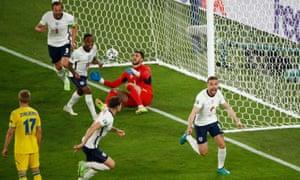 England's Jordan Henderson celebrates scoring their fourth goal.