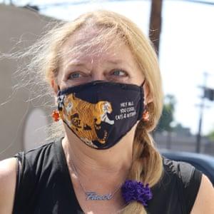 Baskin wears one of her coronavirus face masks.