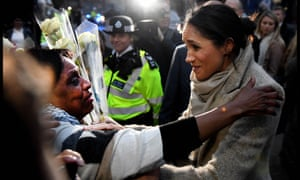 Meghan Markle meets trader Sandra Wiltshire during the royal couple's visit to Brixton in January this year.