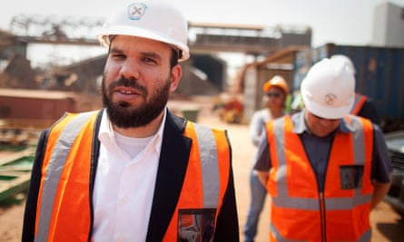 Dan Gertler, left, visiting a copper and cobalt mine in DRC in 2012.