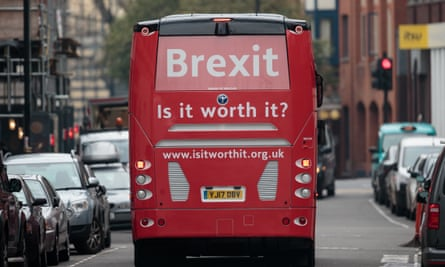 An anti-Brexit campaign bus in London.