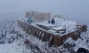 The Acropolis covered with snow