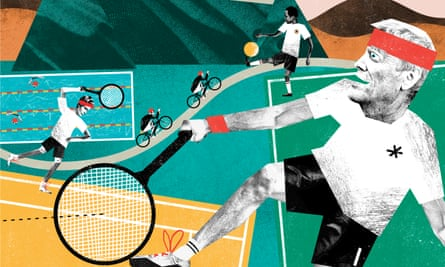 Illustration of old athletes playing tennis and swimming