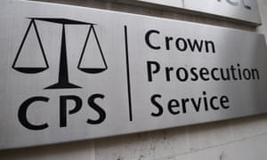 Sign for Crown Prosecution Service in Westminster, London.