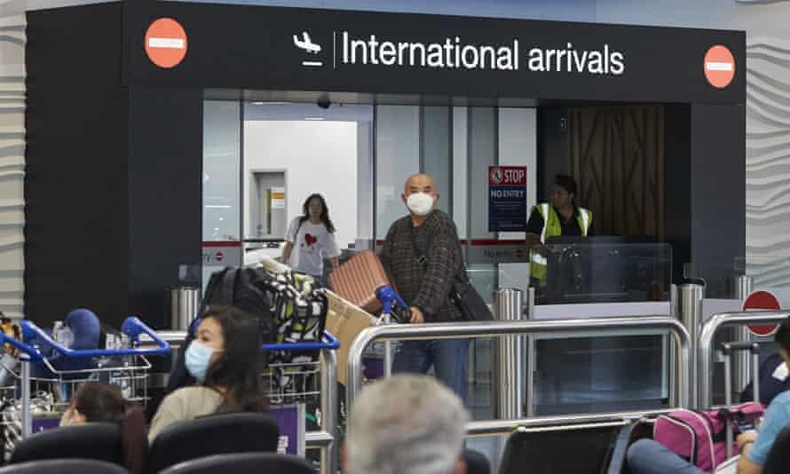 Passengers arriving at Auckland International Airport
