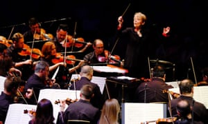 Marin Alsop conducting the strings of the São Paulo Symphony Orchestra at the Royal Albert Hall last week