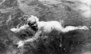The swimmer Burgess during his attempt to swim the English Channel, 1911.